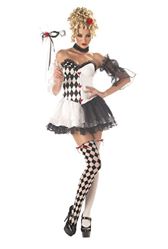 [8eighteen Sexy Le Belle Harlequin Mardi Gras Clown Adult Halloween Costume] (Le Belle Harlequin Adult Costumes)
