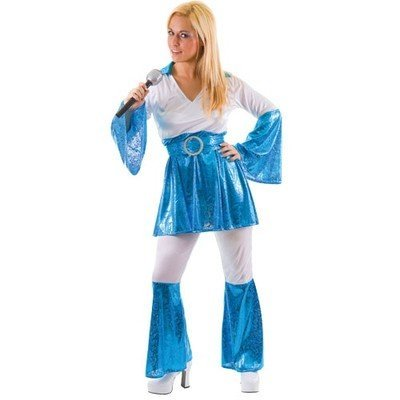 [MAMMA MIA HIPPY 70S BLUE FANCY DRESS COSTUME ALL SIZES ABBA MAMA by Wicked] (Mama Mia Costumes)