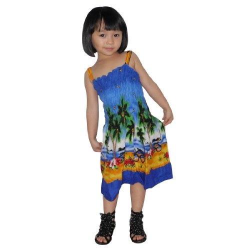 Baby Girls Thai Exotic Gathered / Smocked Bodice Sleeveless Summer Tank Dress - Size: 4