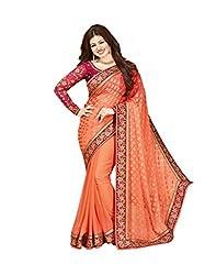 VinayTM Elegant Traditional Designer Georgette Brasso Lace Work Peach Pink Saree Blouse Material