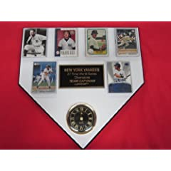 New York Yankees TEAM CAPTAINS 6 Card Collector HOME PLATE Clock Plaque EXCLUSIVE... by J & C Baseball Clubhouse