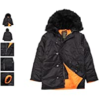 Alpha Industries Slim-Fit N-3B Men's Parka ( Black/Orange W/ Black Fur)