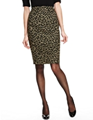 M&S Collection Animal Jacquard Print Knee Length Pencil Skirt