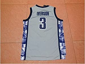 NEW #3 Allen Iverson Georgetown Hoyas NCAA Basketball College Jersey S-XXL + Free Gift (Gray, Large)