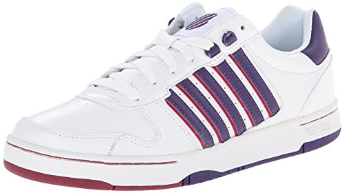 K-Swiss Women's Jackson Fashion Sneaker, White/Parachute Purple/Beet Red, 8 M US