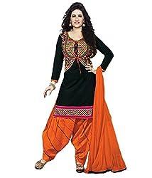 DivyaEmporio Women's Faux Crepe Black and Orange Salwar Suit Dress Material