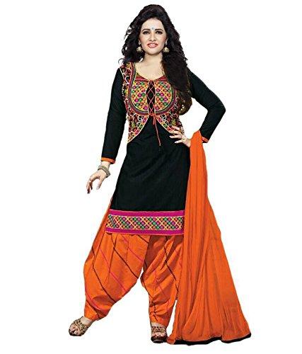 DivyaEmporio Women's Faux Crepe Black and Orange Salwar Suit Dress Material (Crepe Material compare prices)