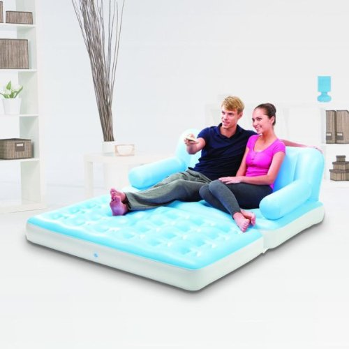 ComfortQuest 5 in 1 Flocked Inflatable Sofa Bed (Double, Blue & White) With Electric Pump