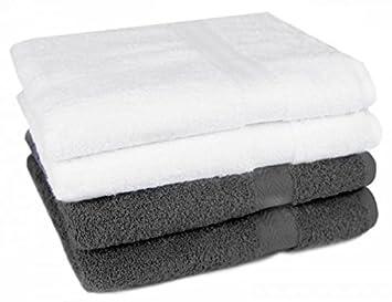 Lot de 4 serviettes de de toilette premium blanc gris anthracite qualit 470g m 4 for Serviette de toilette haute qualite