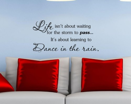 Life Isn'T About Waiting For The Storm The Pass... It'S About Learning To Dance In The Rain. Vinyl Wall Art Inspirational Quotes And Saying Home Decor Decal Sticker Steamss front-602599