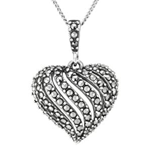 """Sterling Silver Marcasite Open Work Heart Pendant Necklace, 18"""""""