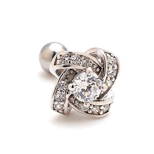 2 Pieces 16g Gem Knit Knot Upper Ear Cartilage Helix Studs Earrings Auricle Piercings 16 Gauges 1/4