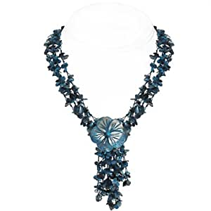 Shell Pearl Necklace - Flower Design (TEAL)