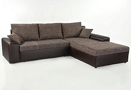 Ecksofa Sharon 250x193cm braun Couch Sofa Polsterecke Bettkasten Schlafsofa