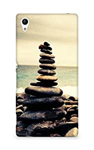 Amez designer printed 3d premium high quality back case cover for Sony Xperia Z4 (Nature Ocean Beach Overlap Pebbles)