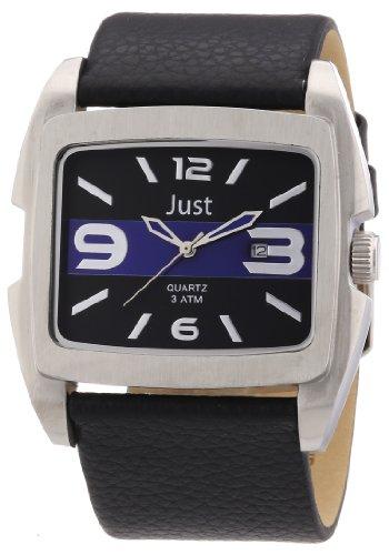 Just Watches 48-S3353-BL - Orologio da polso uomo, pelle, colore: nero