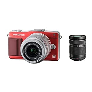 Olympus E-PM2 16MP Compact System Camera with 14-42mm and 40-150mm Two Lens Kit (Red)