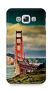Amez designer printed 3d premium high quality back case cover for Samsung Galaxy E7 (San Francisco Bridge Mountain Landscape)