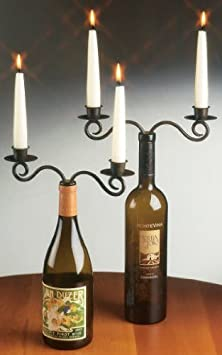 Click to buy Wedding Reception Decoration Ideas: Double WINE bottle candelabra from Amazon!