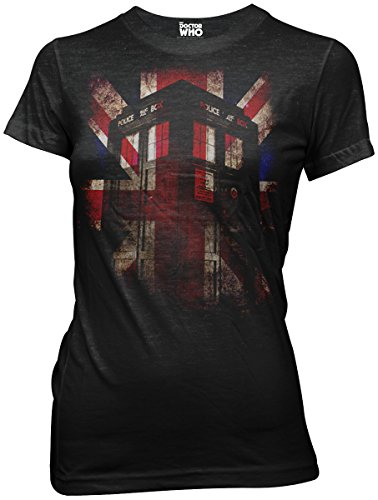 Dr Who Tardis Union Jack Glow Juniors Black Tri-Blend T-shirt S (British Flag Tshirts compare prices)