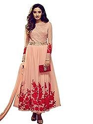 Fabcart Women's Chiffon Semi Stitched Anarkali Salwar Suit
