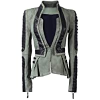 Lookbookstore Women Denim PU Leather Contrast Zip Sleeves Pleated Tuxedo Top Jacket Blazer Green US 12