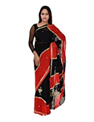 A1 Fashion Women Georgette Multi-Coloured Saree With Blouse Piece