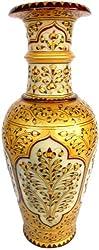 12 Jaipuri Gold Painted Indian Marble Flower Vase Pot