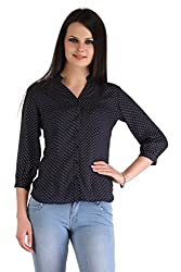 ZAIRE Women's Fashionable Polka Dotted 3/4 Sleeves Cotton Rayon Top (2268-3/4TH,Navy Blue,L)