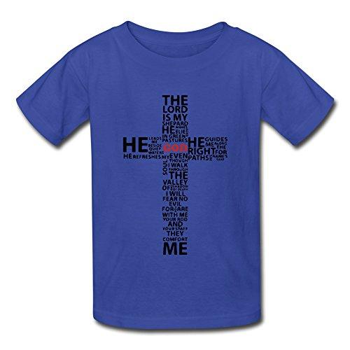 xj-cool-croce-motivo-il-re-god-kids-tuta-maglietta-a-maniche-corte-blu-s
