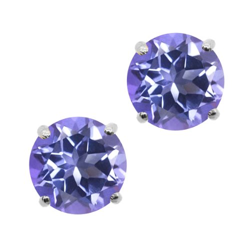 2-00-Ct-Round-6mm-Tanzanite-Blue-Mystic-Topaz-14K-White-Gold-Stud-Earrings