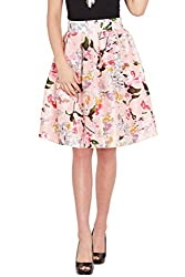 Pink Floral Silk Skirt