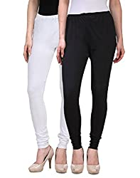 Desi Duos Women's Solid Cotton Leggings With Great White & Black Color