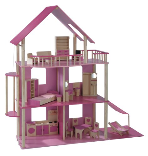 xxl puppenhaus f r ankleidepuppen z b barbie spielzeug. Black Bedroom Furniture Sets. Home Design Ideas