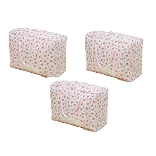 Storage Style 快適収納 羽毛ふとん収納袋 持ち手付 3枚組 フラワー 厚手不織布製 シングル・ダブルサイズ兼用 布団の持ち運びがラクラク