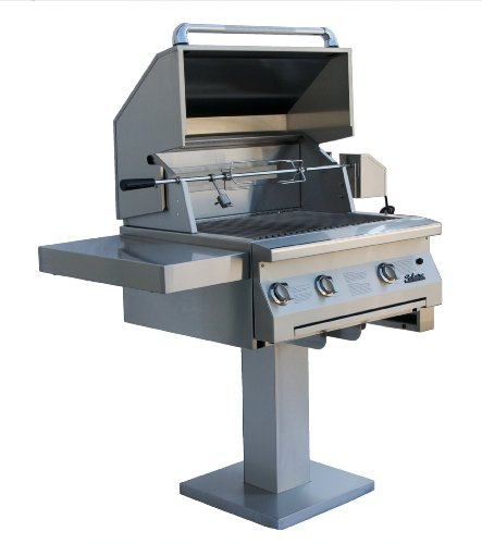 Solaire 30-Inch Infravection Natural Gas Bolt-Down Post Grill With Rotisserie Kit, Stainless Steel