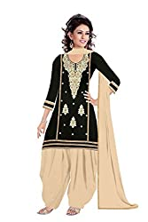 Queen Creation Women's Beautiful Semistitched Embroidered Black Dress Material