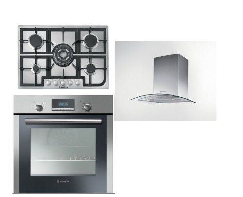 Hoover Built-in Multi Function Oven HOC709/6X, 5 Burner Gas Hob HGH75SQCX and HGM61X 60CM Glass Chimney Hood