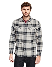North Coast Herringbone Checked Thermal Shirt with Wool