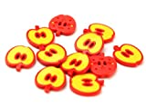 Loose Dill Buttons 25mm Shaped Apples - Colour 25 Yellow/Red - per single button