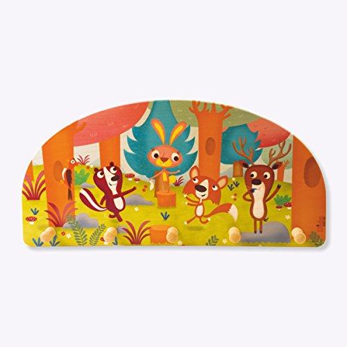 Dida - Attaccapanni da parete in legno per bambini con animali del bosco che giocano.