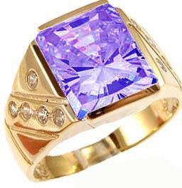 14K Yellow Gold, Fancy Ring For Men Guy Gent With Brilliant Lab Created Gems Violet Purple Center 10Mm 4.5Ct