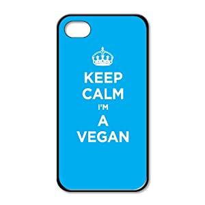 Black rubber case for iPhone 4/4S: KEEP CALM I'M VEGAN CYAN LIGHT BLUE WW2 WWII PARODY SIGN (One black rubber case)