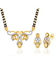 "Peora 18 Karat Gold Plated Kundan Pearl ""Suchita"" Mangalsutra Earrings Set (PM68GJ)"