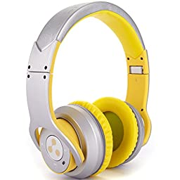 Syllable Foldable HIFI Stereo Wireless Bluetooth 4.0 NFC Double Moulds Noise Cancellation Headphone Earphone Headset for Any Device with Bluetooth Capability/ NFC Capability/3.5 mm Jack (Yellowish-white)