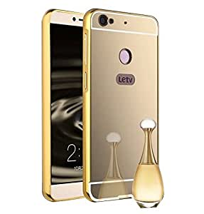 Droit Luxury Metal Bumper + Acrylic Mirror Back Cover Case For leTVLetvIS Gold + Flexible Portable Thumb OK Stand by Droit Store.