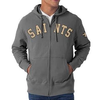 NFL New Orleans Saints Strikers French Terry Full Zip Hoodie Sweatshirt - Gray by Football Fanatics
