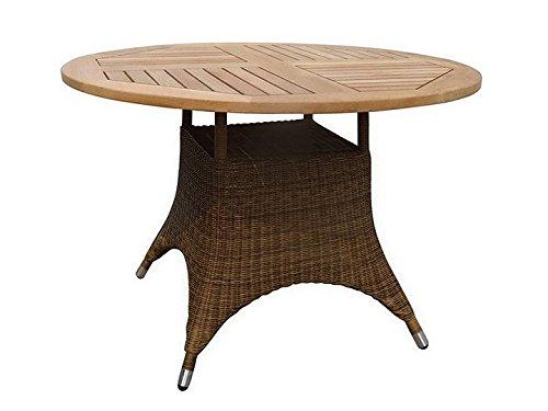 SAVANNAH Tisch Gartentisch Ø110 Zebra Teak & Poly Rattan Cognac günstig bestellen