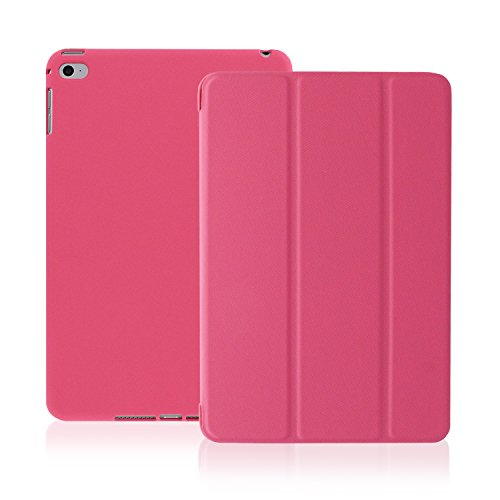 KHOMO iPad Mini 4 Case (Released September 2015) - DUAL Dark Pink Super Slim Twill Texture Cover with Rubberized back and Smart Feature (sleep / wake feature) For Apple iPad Mini 4th Generation Tablet (Ipad Mini Back Cover Pink compare prices)