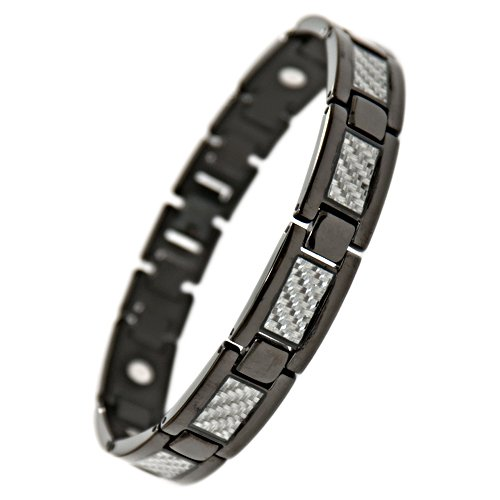 Willis Judd New Mens Black Titanium Magnetic Bracelet With Silver Carbon Fiber Insets in Velvet Box with Free Link Removal Tool